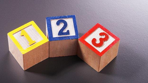 Numbered wooden blocks