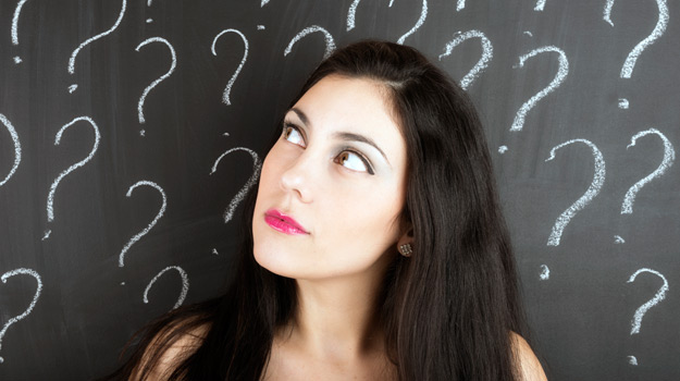 Woman considering question