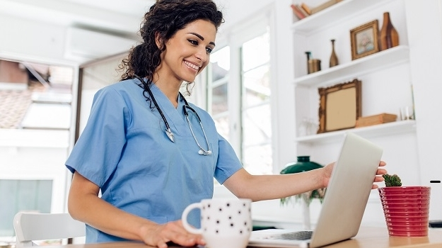 female doc working from home
