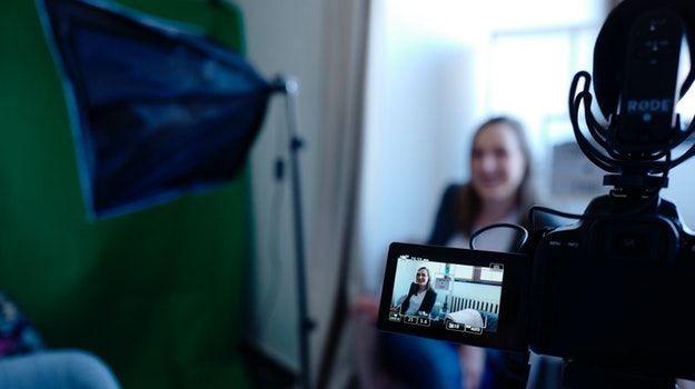 woman being video interviewed