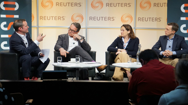 From left: Moderator Richard Griffiths, Ketchum, A