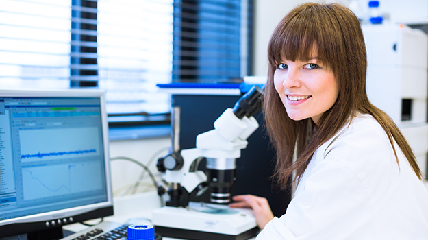 female researcher doing research in a lab